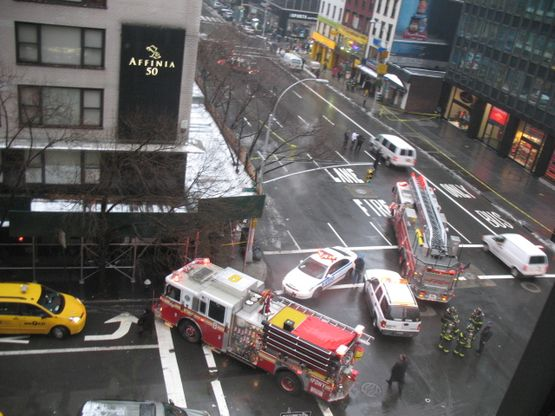 Firetrucks at 50th Street and Third Avenue