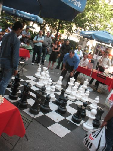 big chess match in Herald Square