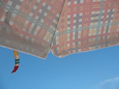 the view from under the umbrella