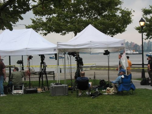 News crews in their tents