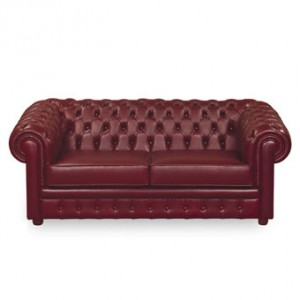 A  burgandy Chesterfield