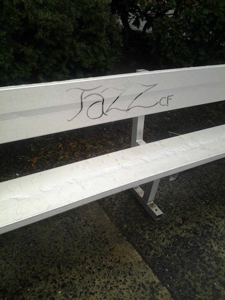 This is why we can't have nice things. Stupid Jazz fans and their graffiti.